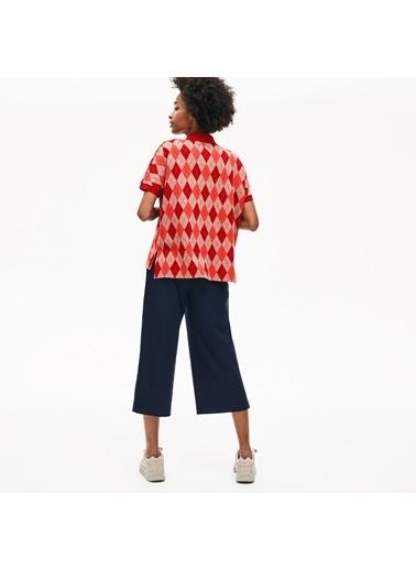 Lacoste Kadın Ekose Desenli Tişört DF8657.0VG Kırmızı